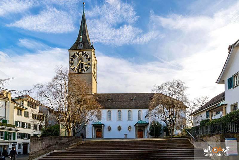 کلیسای سنت پیتر زوریخ با بزرگترین صفحه ساعت در اروپا، عکس